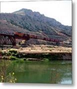 Bnsf Train Along The Wind River Metal Print