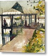 Boardwalk Sarasota Ink And Wash Metal Print