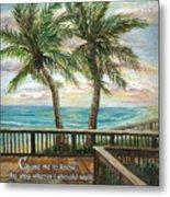Boardwalk With Two Palms Psalm 143 Metal Print