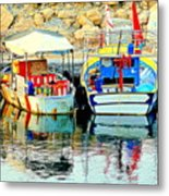 Happy And Colorful Boats In Their Own Company  Metal Print by Hilde Widerberg