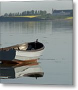 Boat And Reflection Metal Print