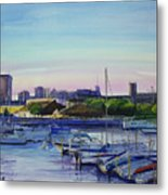 Boat Harbor At Dusk Metal Print
