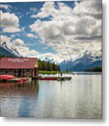 Boat House And Canoes On A Jetty At Maligne Lake In Canada Metal Print
