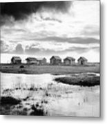 Boat Houses By The Shore In Kallahamn Harbor Metal Print