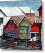Boat Houses On The Lake Metal Print