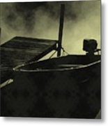 Boat In Fog Metal Print