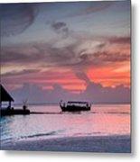 Boat Sunset Metal Print
