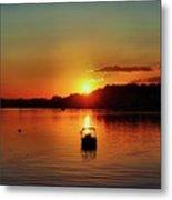 Boat In Sunset Glow Metal Print