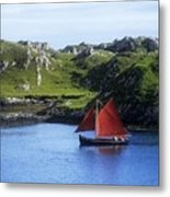 Boat In The Sea, Galway Hooker, County Metal Print