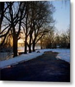 Boat Launch In Winter Metal Print