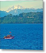 Boat On Llanquihue Lake From Puerto Varas-chile Metal Print