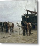 Boat On The Beach At Scheveningen Metal Print by Anton Mauve