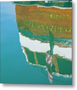 Boat Reflection In Water  Metal Print
