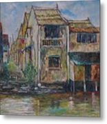 Boat Ride Along The Malacca River Metal Print
