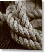 Boat Rope Sepia Tone Metal Print