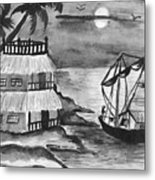 Boat Sailing In Moon Light Metal Print