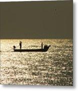 Boat Silhouette In Sunrise At Marina Beach, Chennai Metal Print