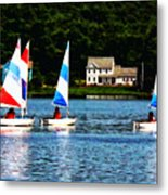 Boat - Striped Sails Metal Print