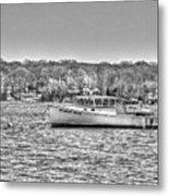Lobster Boat Mount Sinai Harbor Li.ny Metal Print