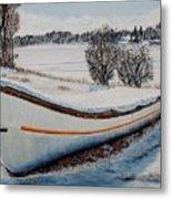 Boat Under Snow Metal Print