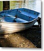 Boat Under The Bridge Metal Print