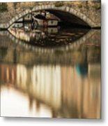 Boat Waddling On Water Channels Of Bruges, Belgium Metal Print