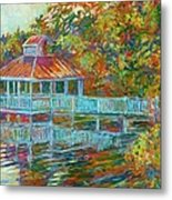 Boathouse At Mountain Lake Metal Print