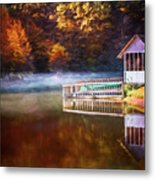 Boathouse In Autumn Oil Painting Metal Print