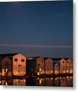 Boathouse Reflections With Moonset Metal Print
