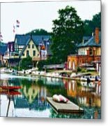 Boathouse Row In Philly Metal Print by Bill Cannon