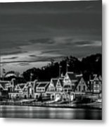 Boathouse Row Philadelphia Pa Night Black And White Metal Print
