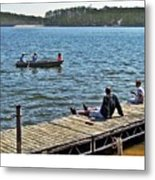 Boating And Sitting On The Dock Metal Print