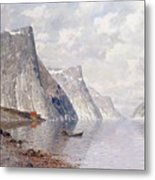 Boating On A Norwegian Fjord Metal Print