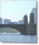 Boating On The Charles Metal Print by Laura Lee Zanghetti