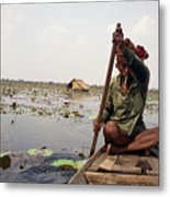 Boatman - Battambang Metal Print