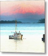 Boats Anchored With Mount Baker, Washington In Background Metal Print