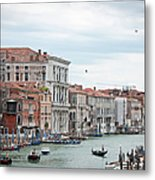 Boats And Gondolas In Grand Canal Metal Print