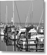 Boats And Reflections B-w Metal Print