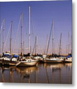 Boats And Reflections Metal Print