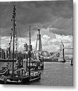 Boats And Shard And Tower Bridge Bw Metal Print