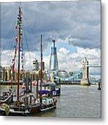 Boats And Shard And Tower Bridge Metal Print
