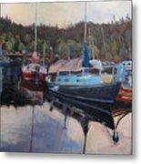 Boats At Dock Heriot Bay Inn Metal Print