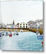 Boats At Ilfracombe Harbour Metal Print