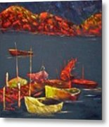 Boats At Nightfall Metal Print