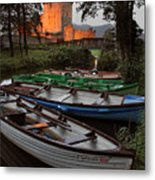 Boats At Ross Castle Killarney Ireland Metal Print