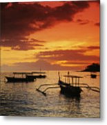 Boats At Senggigi Metal Print