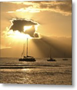 Boats At Sunset Metal Print