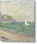 Boats Below The Cliffs At Pourville Metal Print