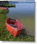 Boats By The Lake Iceland  Metal Print
