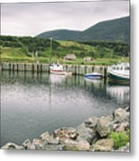 Boats Docked In Harbor Cape Bretton Island ,, Nova Scotia Metal Print